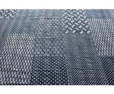Mango Gifts Indigoblaue Tagesdecke, Patchworkdecke, aus Baumwolle, ca 150 x 230 cm, gewebt von Künstlern aus Indien