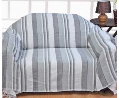 Homescapes waschbare Tagesdecke Sofaüberwurf XXL Morocco grau weiß 225 x 255 cm Überwurfdecke Bettüberwurf 100% reine Baumwolle