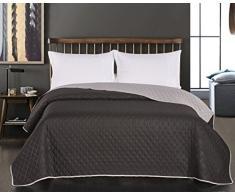 DecoKing 15162 Tagesdecke 200 x 220 schwarz stahl silber anthrazit grau Bettüberwurf zweiseitig Steppung black silver Axel