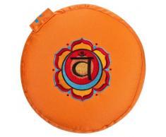Meditationskissen Glückssitz Chakra, Ø 33 cm, Höhe 15 cm, Bezug und Inlett 100 % Baumwolle, Füllung Buchweizenschalen, Bezug und Inlett maschinenwaschbar bis 30ºC, orange / 2. Chakra Sakral-Chakra (Swadhisthana)