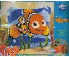 Vervaco Knüpfkissen Nemo Knüpfpackung zum Selbstknüpfen eines Kissens, Stramin, weiß, 40 x 40 x 0,3 cm