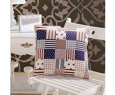 Verwandlungskissen USA Stars and Stripes Sterne 2 in 1 Kissen 50x50cm und Decke 150x195cm in einem, Reisekissen, Reisedecke