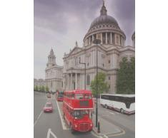Sightseeing-Motiv Fleece Wohndecke 150 x 200 cm, London Bus
