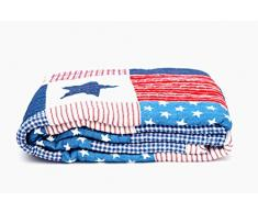 1001 Wohntraum D14 Quilt Stars n Stripes 180 x 220 cm Sterne USA Plaid Tagesdecke, Patchwork Landhaus Shabby Decke