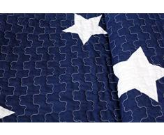1001 Wohntraum 13D61blue-2 Quilt Sophie Sterne Stars Plaid Tagesdecke Decke, 180 x 220 cm, blau / marine