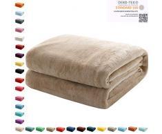 Mixibaby Kuscheldecke Flauschige extra weich & warm Wohndecke Flanell Fleecedecke, Falten beständig/Anti-verfärben als Sofadecke oder Bettüberwurf, Maße Decke Sarah:150 cm x 200 cm, Farbe:Beige