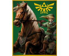 Große The Legend of Zelda Wohndecke Grün 160 x 200 cm super weiche Flanell-Decke Kuscheldecke Sofadecke Fleece-Decke Hyrule Triforce Links Awakening Breath of the Wild Princess pass. zur Bettwäsche
