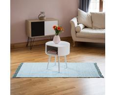 Relaxdays Flickenteppich 70 x 140 cm mit Sternmotiv aus 100 % Baumwolle, Fransen, Fleckerlteppich, mint