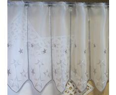 Scheibengardine nach Maß edel bestickt mit Sternen in silber - Höhe 45 cm - Breite der Gardine durch Stückzahl in 32 cm Schritten wählbar - Weihnachtsgardine Stern Bistro mit Spitze Fensterbild Weihnachten Sterne Typ302