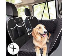 Pecute Hundedecke für Auto Rückbank Kofferraumdecke für Hunde Hand Autoschondecke mit Sicherheitsgurt, Rücksitzbezüge für Hunde mit Sichtfenster Aufbewahrungsbeutel(146x136cm)