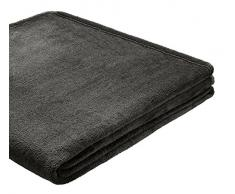 B@Home Biederlack Decke / Überwurf, 150 x 200 cm, Fleece, einfarbig anthrazit