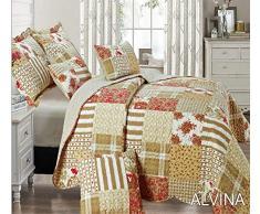 THL Bettwäsche-Set mit Tagesdecke und 2 Kissenbezügen, Patchwork-Design, 235 x 250 cm, Doppelbett / King-Size-Bett, 3-teiliges Set, Alvina