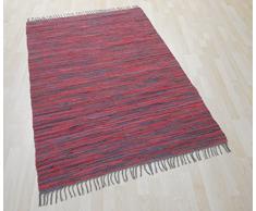 MB Warenhandel24 Handwebteppich Fleckerlteppich Flickenteppich gestreift 100% Baumwolle Handweb Teppich Fleckerl Waschbar (ANTHRAZIT/ROT gestreift, ca. 50x100 cm)