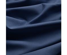 Beautissu Thermovorhang Amelie 140x245 cm Kräuselband Vorhang blickdicht & Verdunkelung - Universalband Gardine Blau