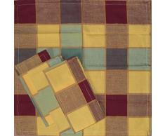 4 Stück Stoff Servietten aus Baumwolle, 40 x 40 cm, kariert, verschiedene Fb. sort., durchgewebt (braun)