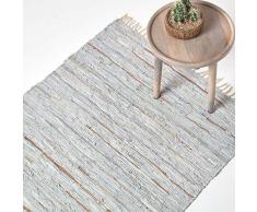 Homescapes Flickenteppich/Bettvorleger aus recyceltem Leder mit Glitzer-Streifen und Fransen, 90 x 150 cm, cremeweiß-silbern gestreift