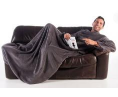 Kuscheldecke mit Ärmeln Tagesdecke Wohndecke Handytasche Microfaser Fleece 170x200 +50 Grau TV Decke super flauschig