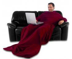 CelinaTex TV-Decke Kuscheldecke mit Ärmeln und Fußtasche XL 170 x 200 cm Bordeaux rot Coral Fleece Tagesdecke Ärmeldecke