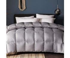 Love House Ganzjahres-Alternative Daunenbettdecke Baumwolle Feder Schmusetuch mit Ecklaschen gesteppt leichte Gänsedaunen Bettdeckeneinlage, Baumwolle, grau, Queen