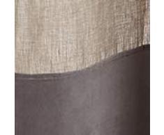 """URBANARA Vorhang """"Saveli"""" aus Leinen und Baumwolle im Blockdesign, einzelner Schal-Für Fenster im Wohnzimmer, Schlafzimmer, 135 x245cm- Natur/Grau"""