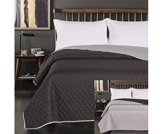 DecoKing 45800 Tagesdecke 220 x 240 cm schwarz Stahl Silber anthrazit grau Bettüberwurf zweiseitig Steppung Black Silver Paul