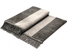 Biederlack Sofaläufer Baumwollmischung Silber/grau Größe 100x200 cm