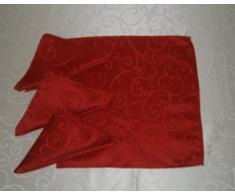 Packung mit 4 rote Damast Stoff Servietten - 45cm x 45cm - Strudel-Entwurf - Heim oder Weihnachten