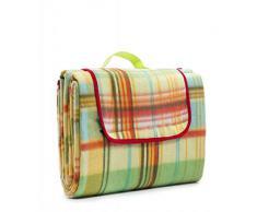 Picknick Decke Thermorückseite, wasserdicht, bunt karriert, Farbe: Gelb / Grün, Größe: 150x200 cm, mit Tragegriff