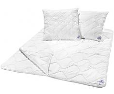 Traumnacht 3-Star Bettenset 4-Jahreszeiten, 1 x teilbare Bettdecke 200 x 220 cm und 2 x Kopfkissen 80 x 80 cm, weiß