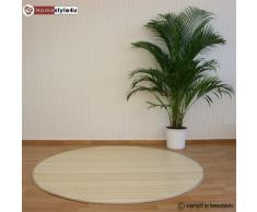 Homestyle4u Bambusteppich Bambusmatte Teppich Bambus 200 cm rund natur
