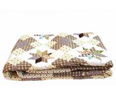 1001 Wohntraum 13D25 Quilt Rebecca 230 x 250 cm Sterne Karo Shabby Plaid Tagesdecke, Patchwork Vintage Decke