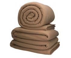 Betz 2 Stück Jumbo Fleecedecke Kuscheldecke in XXL Größe 220x240 cm Qualität 200 g/m² verschiedene Farben Farbe sand