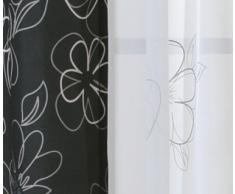 Übergardine Vorhang Whitney Gardine blickdicht Blumen Schlaufen B/H ca. 140x245 cm #1297 (anthrazit)