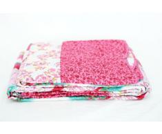 1001 Wohntraum T414 Quilt O pink Blumen, 150 x 200 cm, Plaid Tagesdecke, Patchwork Landhaus Shabby Decke