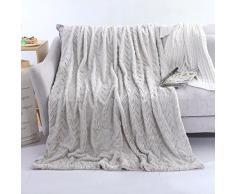 Yoolin Luxus-Faux-Pelz-lange shaggy gestreifte Überwurf-Decke wärmen elegantes bequemes mit flaumiger umfassender Bettdecke Bett-Stuhl oder Sofa-Begleiter (grau)