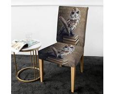 Eule Stuhlbezug 3D Bücher Spandex Schonbezug Animal Dining Sitzbezug Stretchbezug Vivid Printed Sofa Throw 4 STK