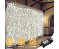 Upgraded OMGAI 300LEDs Vorhang-Licht Mit 8 Modi Für Weihnachten Neujahr Party Hochzeit Home Decoration Fairy Lights Garden Decorations 3m*3m (Upgraded Low Voltage) Weiß