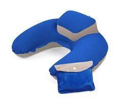 TRIXES blau/beige aufblasbares Nackenkissen Kopfstütze weiches Reise Kissen