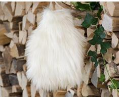 XXL Felldecke aus Webpelz, große weiße Kuscheldecke Tibetlamm, auch als Kissen oder Wärmflasche (Wärmflasche 25x35cm)