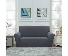 Fuloon Stretch Sofabezug, Spandex Sofa Überwürfe Couchbezug Elastische Sofahusse Antirutsch Sofa Abdeckung 148-180cm (2 Sitzer, Grau)