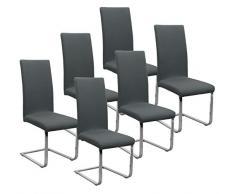 BEAUTEX Jersey Stuhlhussen Sets, elastische Stretch Husse Baumwolle Bi-Elastic, Farbe wählbar (Dunkelgrau 6er Set)