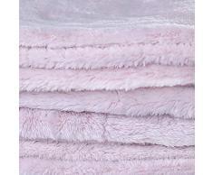 DecoKing 43981 170x210 cm Kuscheldecke Tagesdecke Mikrofaserdecke Fleece Felloptik Kunstfell Decke Fleecedecke Wohndecke Microfaser weich sanft flauschig kuschelig Hellrosa rosa Fluff