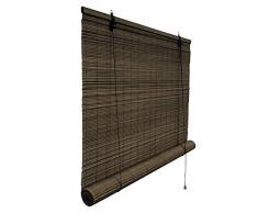 Victoria M. Bambusrollo Blickdicht 80 x 160 cm, Hochwertiges Fenster-Rollo Bambus für Innen, Praktisches Sonnenschutz und Sichtschutz Rollo Seitenzugrollo für Fenster und Türen in Dunkelbraun