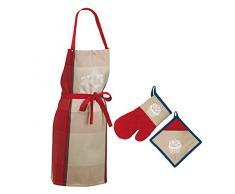 kela 390150 Küchenschürze, Topflappen und Topfhandschuh, Cupcake, 100% Baumwolle, Frida, Rot/Blau
