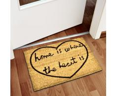Relaxdays Fußmatte Kokos WHERE THE HEART IS 40 x 60cm Kokosmatte mit rutschfestem PVC Boden Fußabtreter aus Kokosfaser als Schmutzfangmatte und Sauberlaufmatte Fußabstreifer für Außen und Innen, braun