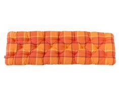 Ambientehome 3er Sitzkissen Bank Evje, karo orange, ca 150 x 50 x 8 cm, Polsterauflage, Bankauflage
