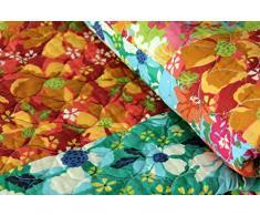 1001 Wohntraum 15J01 Quilt Tanja Blumen Ranken Vintage Tagesdecke Shabby Chic Patchwork Decke, 230 x 250 cm