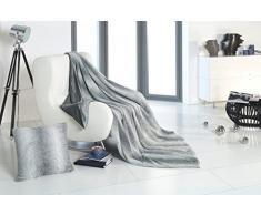 RF My Home Exklusive Wohndecke Oder Kissen in Felloptik/Webpelz Streifen Grau-Silber, Decke 150x200 cm