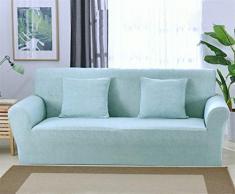 Icegrey Jacquard Sofaüberwurf Elastischer Sofaüberzug Spandex Sofabezug Stretch Sofahusse Hellblau Dreisitzer 185-230cm