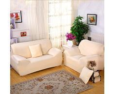 Sofa Überwürfe Sofabezug stretch elastische Sofahusse Sofa Abdeckung in verschiedene Größe und Farbe (3 Sitzer für Sofalänge 185-230cm, Hell apricot)